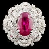 GIA 18K Gold 410ct Ruby  210ctw Diamond Ring