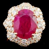 GIA 18K Gold 567ct Ruby  208ctw Diamond Ring