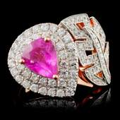 18K Rose Gold 193ct Sapphire  098ct Diamond Rin
