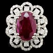 GIA 18K Gold 607ct Ruby  180ctw Diamond Ring