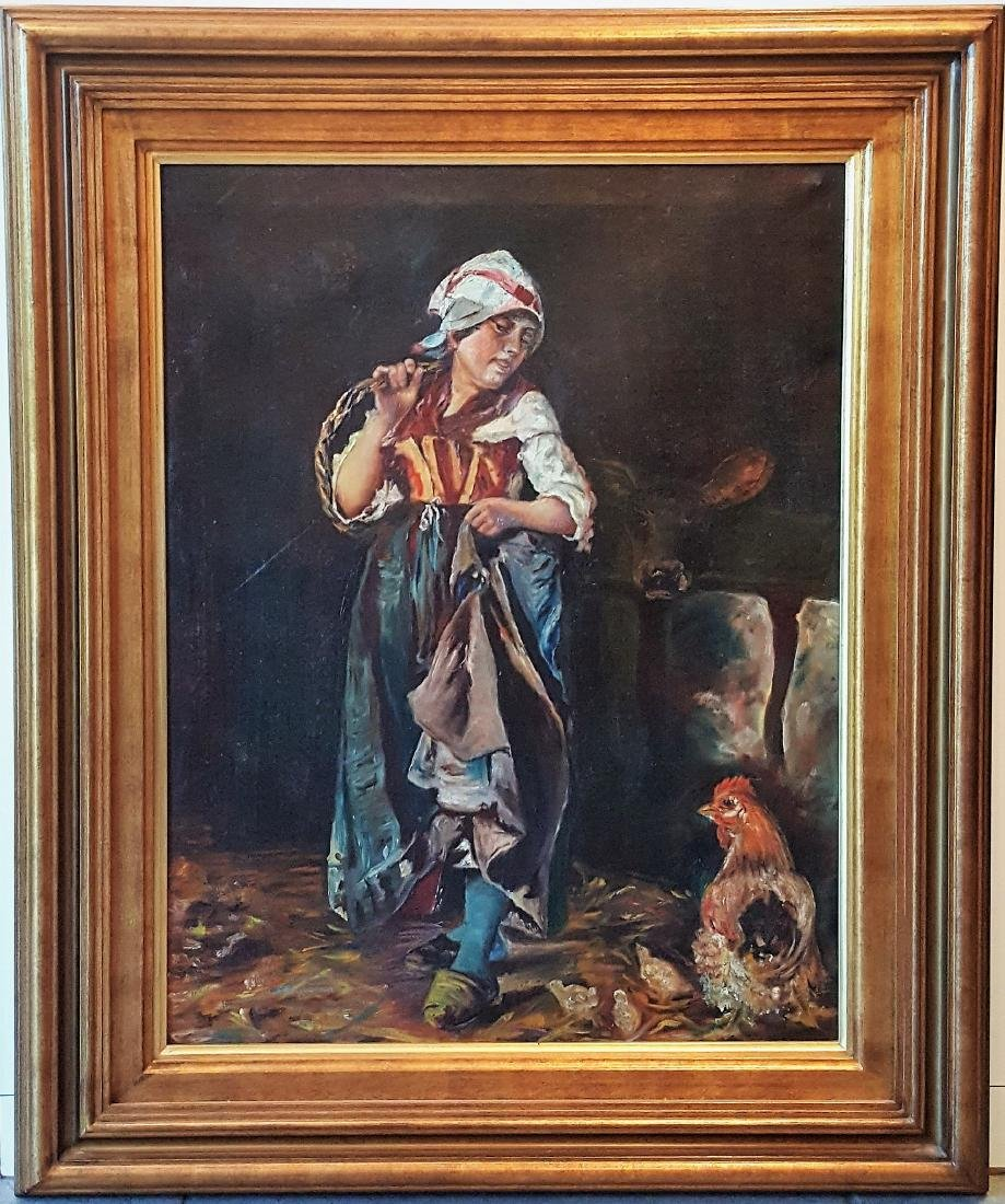 """French oil painting on canvas """"Farm girl with chickens"""""""
