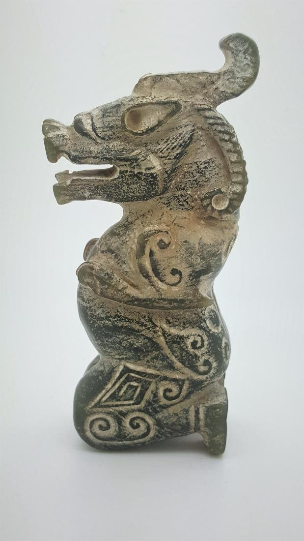 A Han Dynasty mythical ram dragon  nephrite jade - 2
