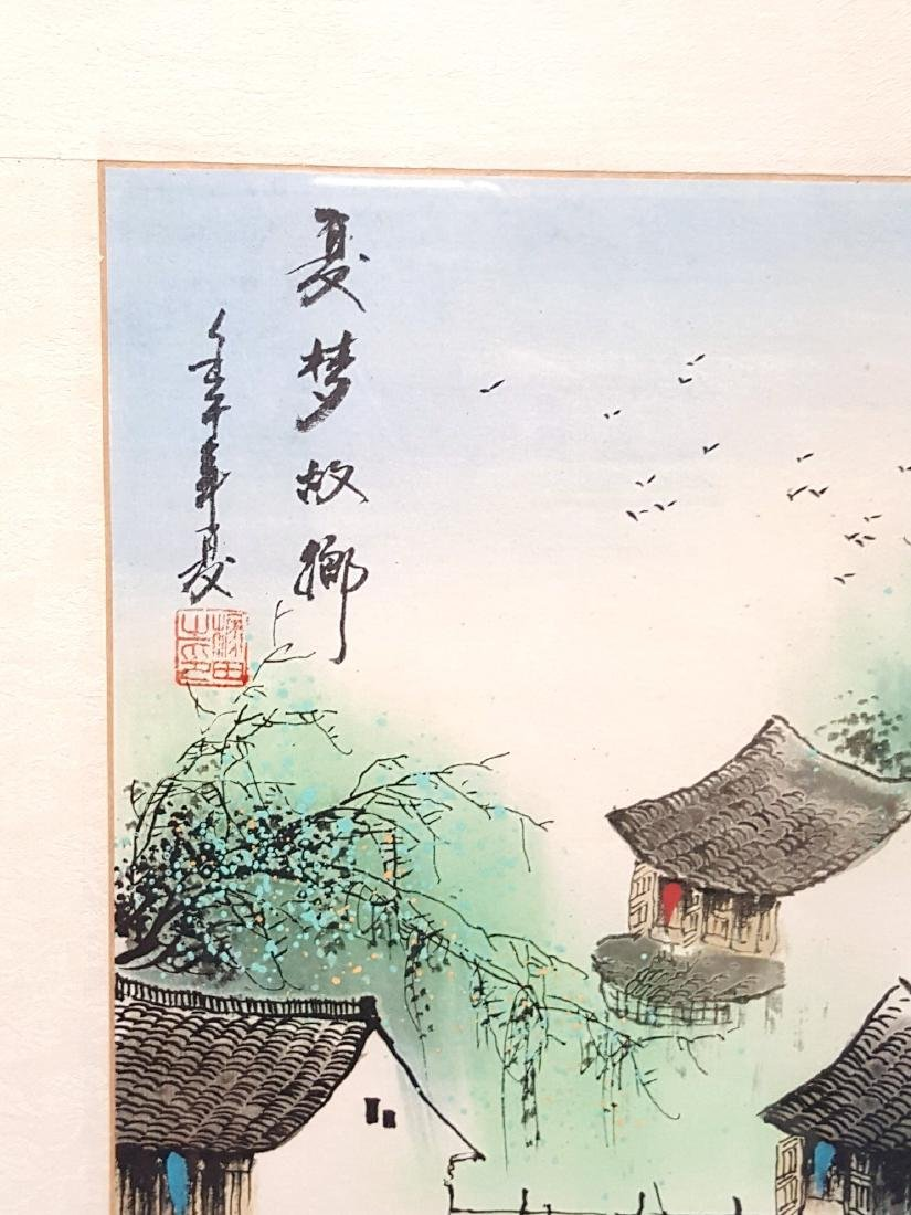 """A Chinese Watercolor painting """"Waterfront Village"""" - 3"""