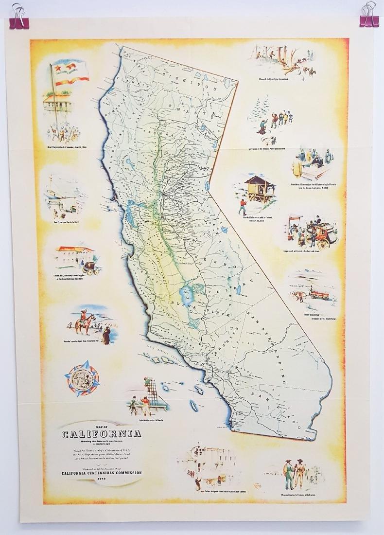An original vintage color map of California Centennial