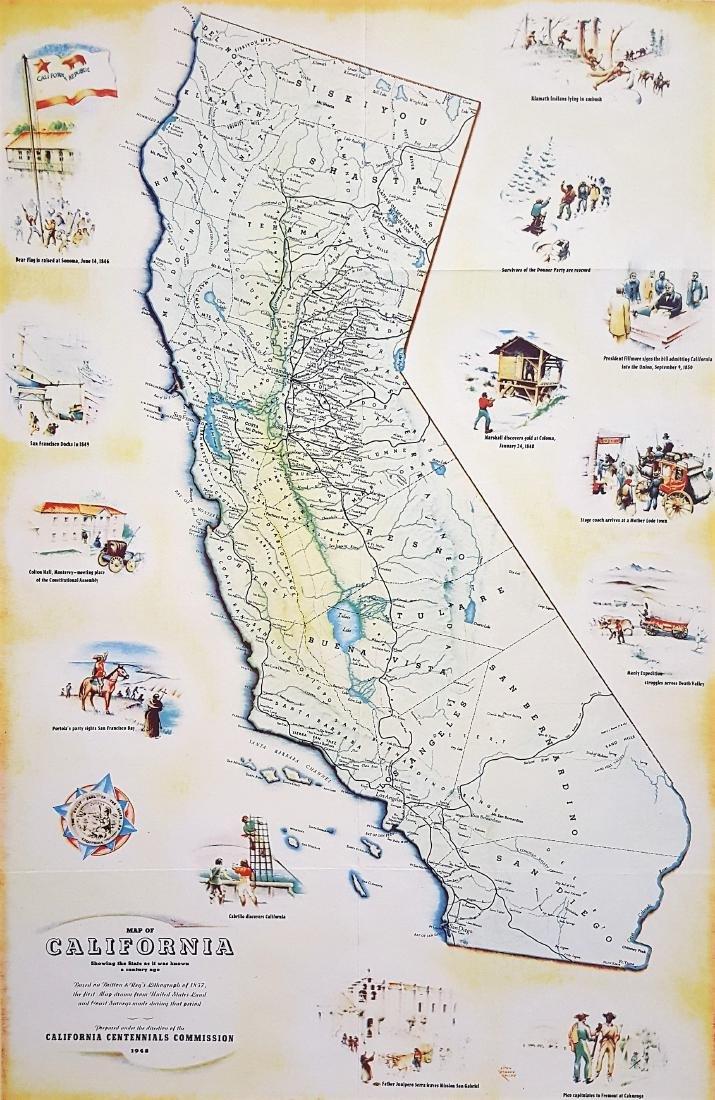 An original vintage color map of California Centennial - 2