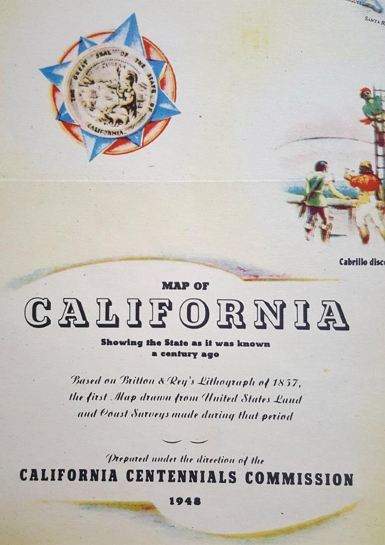 An original vintage color map of California Centennial - 3