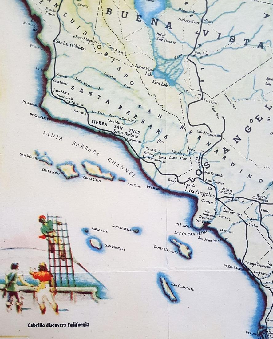 An original vintage color map of California Centennial - 4