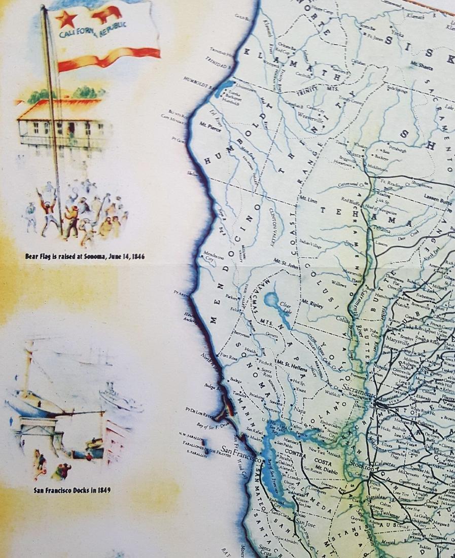 An original vintage color map of California Centennial - 5