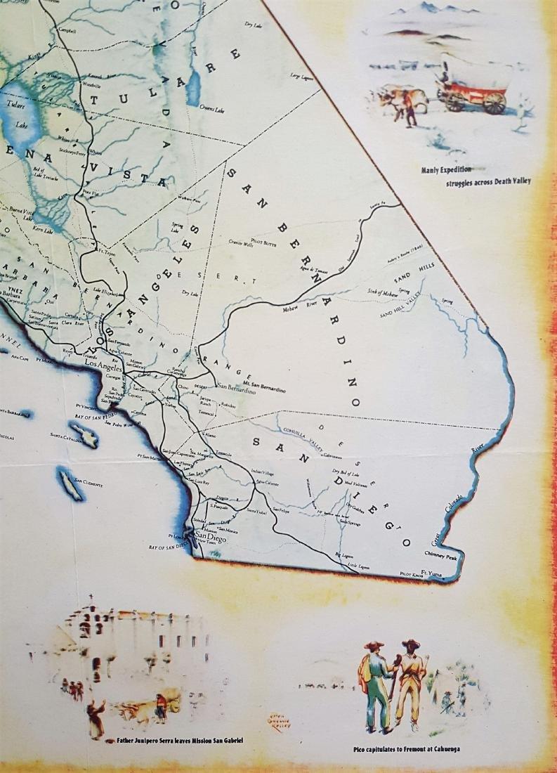 An original vintage color map of California Centennial - 7