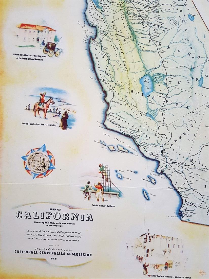 An original vintage color map of California Centennial - 8