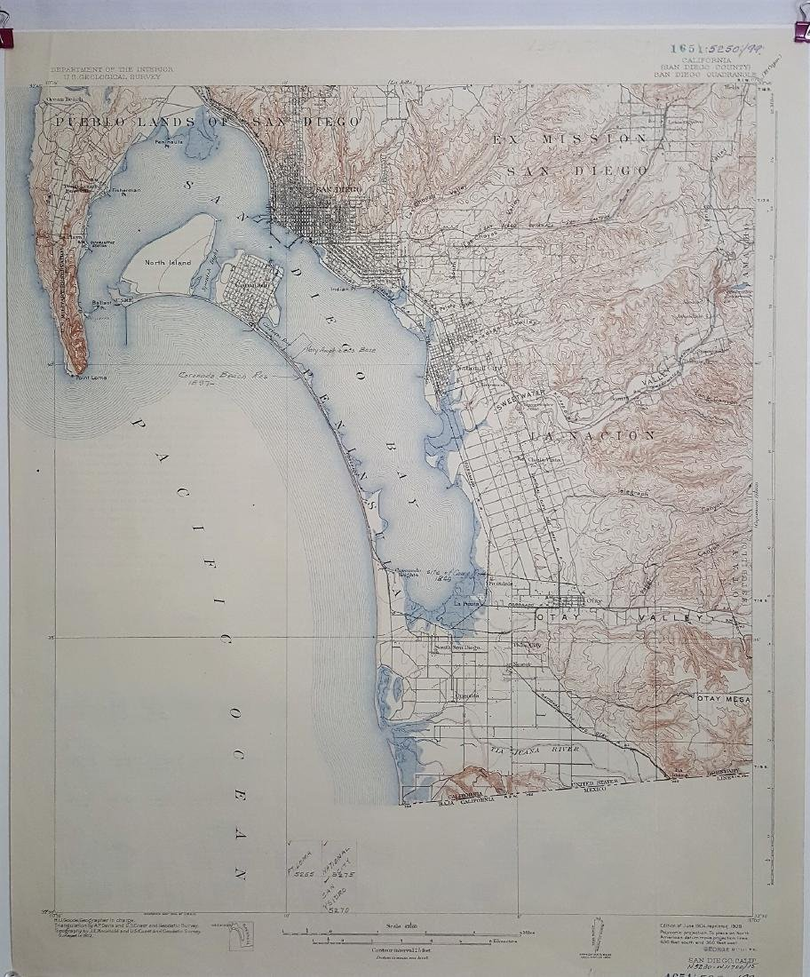A vintage double sided topographic map of California,