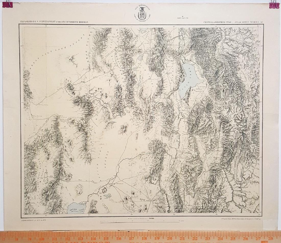A rare original Vintage Military Map of Explorations &
