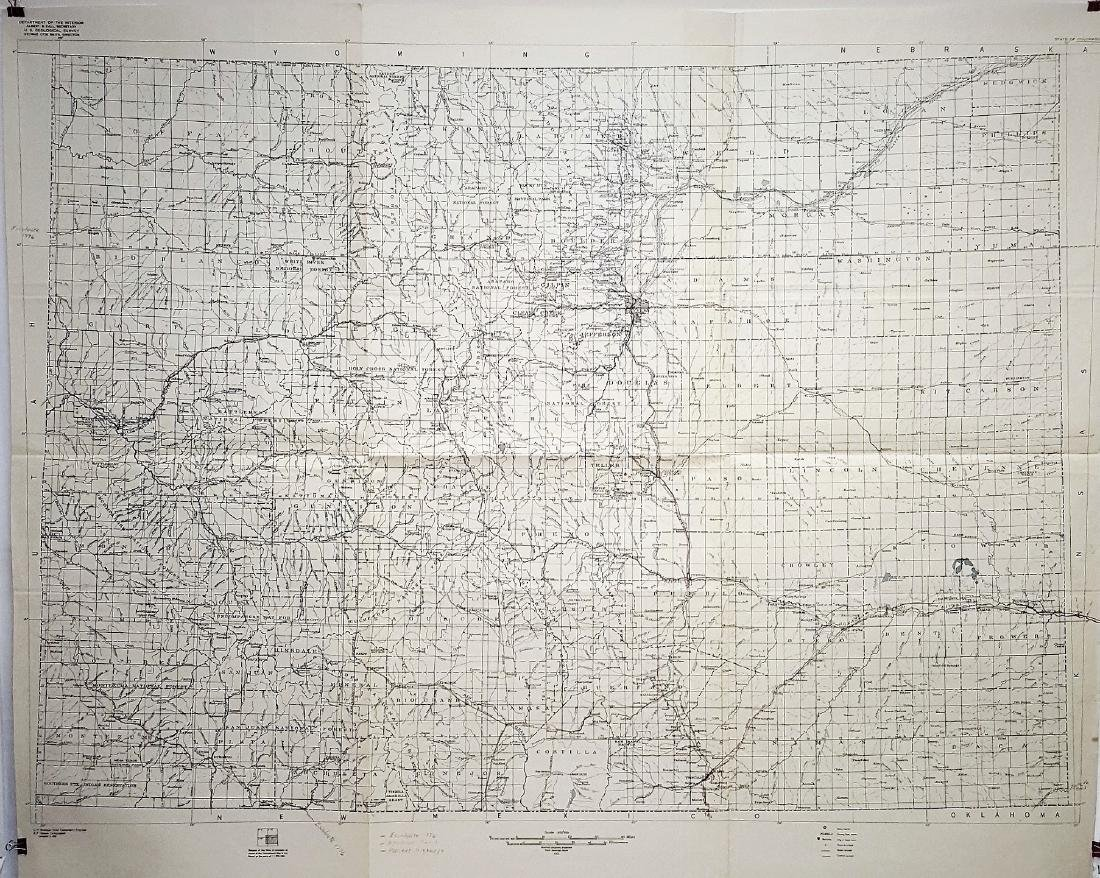 Antique huge historical map Relation of Colorado