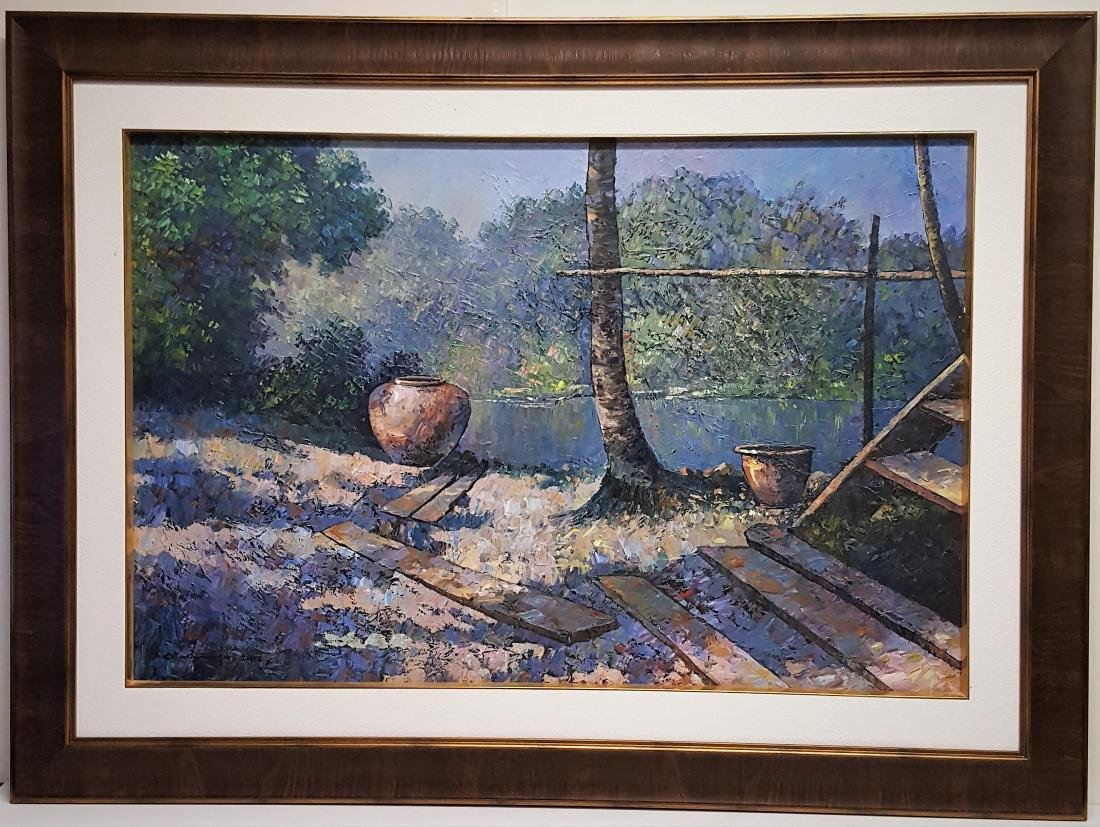 A large oil painting on canavas landscape signed and