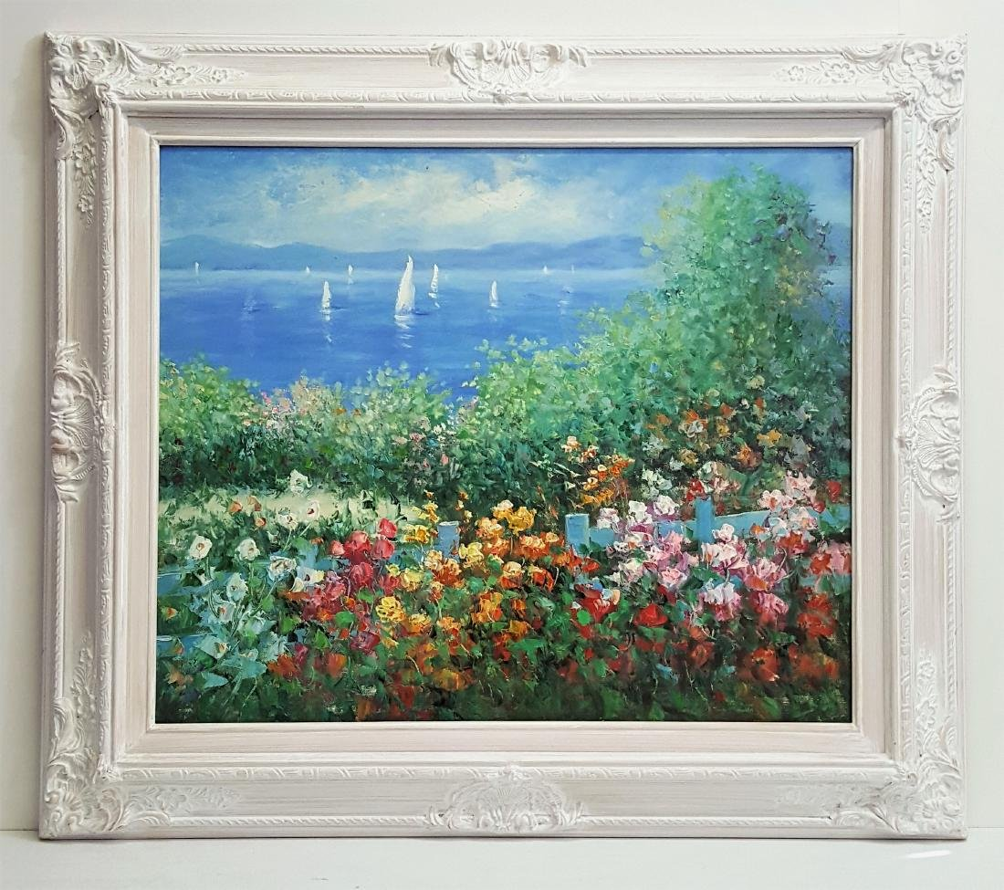 An oil painting in white frame Mediterranean landscape