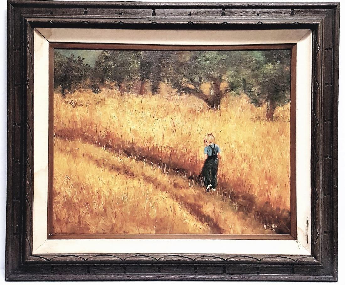 Oil painting post-impression, boy walking in fields