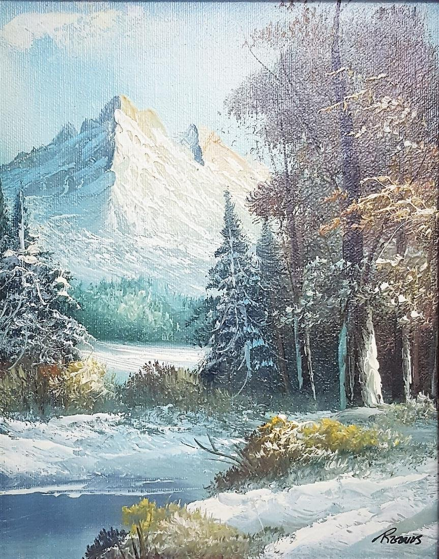 A vintage small oil painting Yosemite National Park
