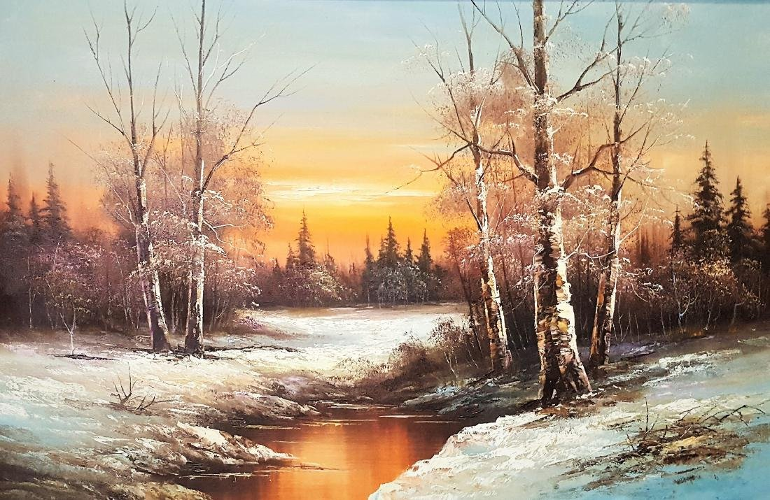 Large oil Paiting with winter landscape framed.