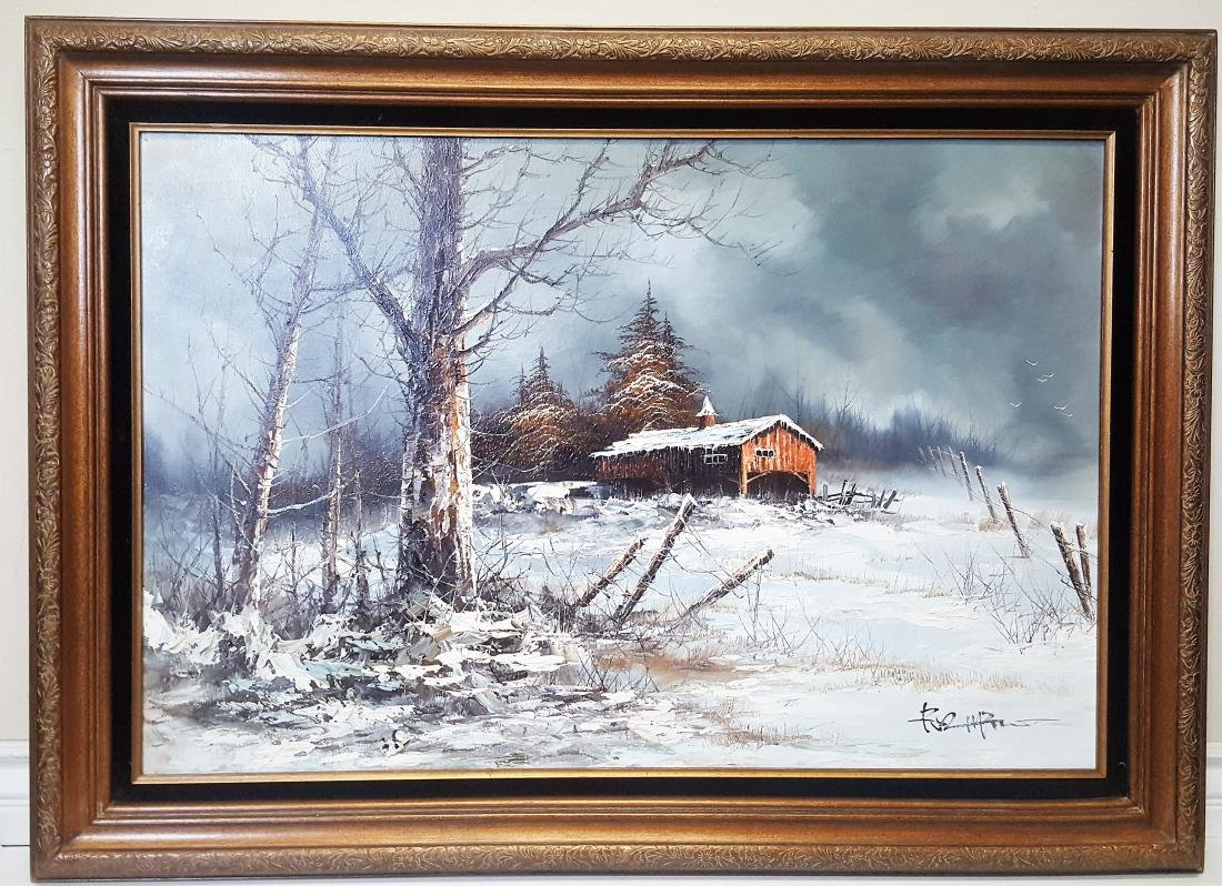 Large oil Paiting with winter frozen landscape with a