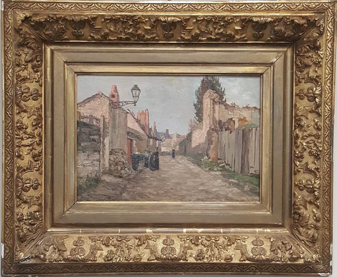French oil painting on canvas country village 19th