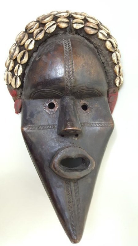 A Large Dan tribe Male Dance Mask, carved hard wood and