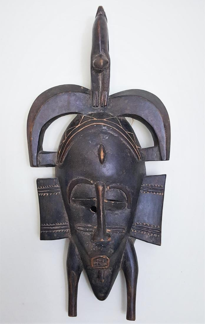 Genuine hand-crafted tribal art mask from the Senufo