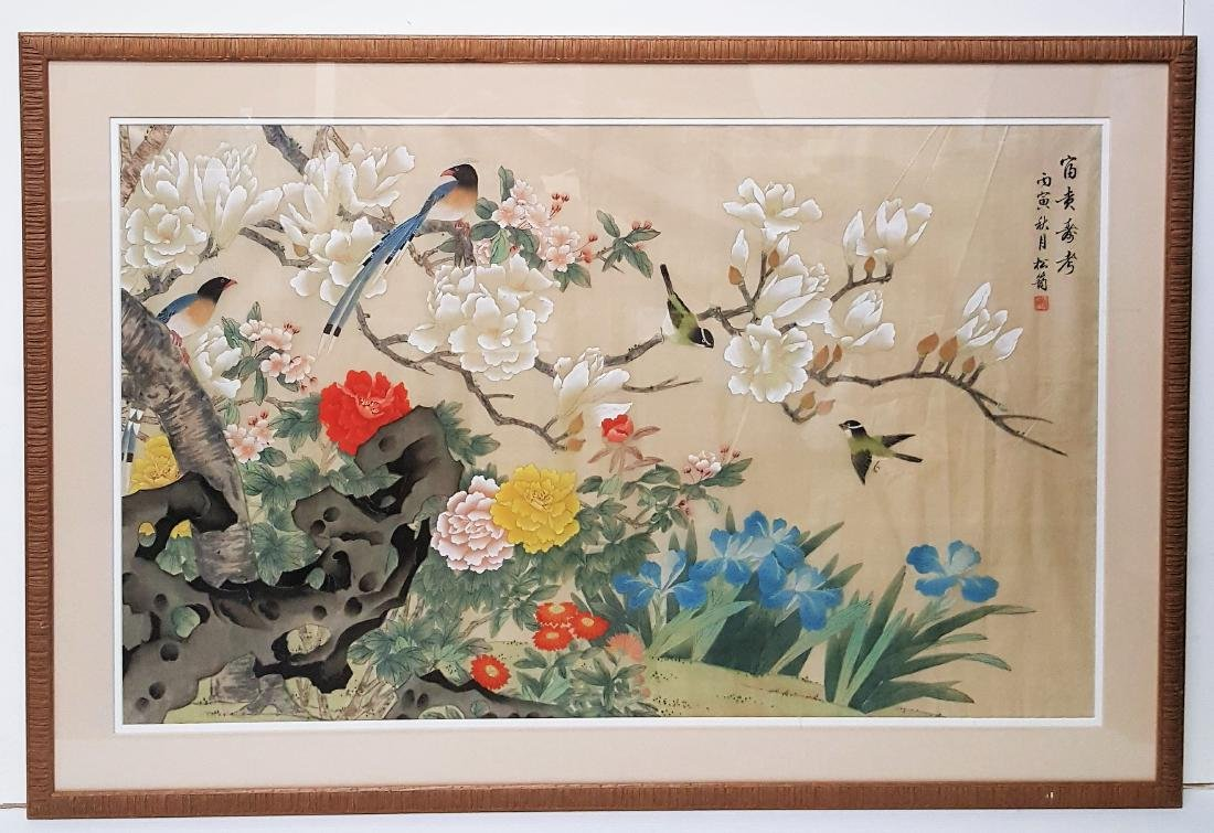 Original Chinese large vintage watercolor on silk, bird