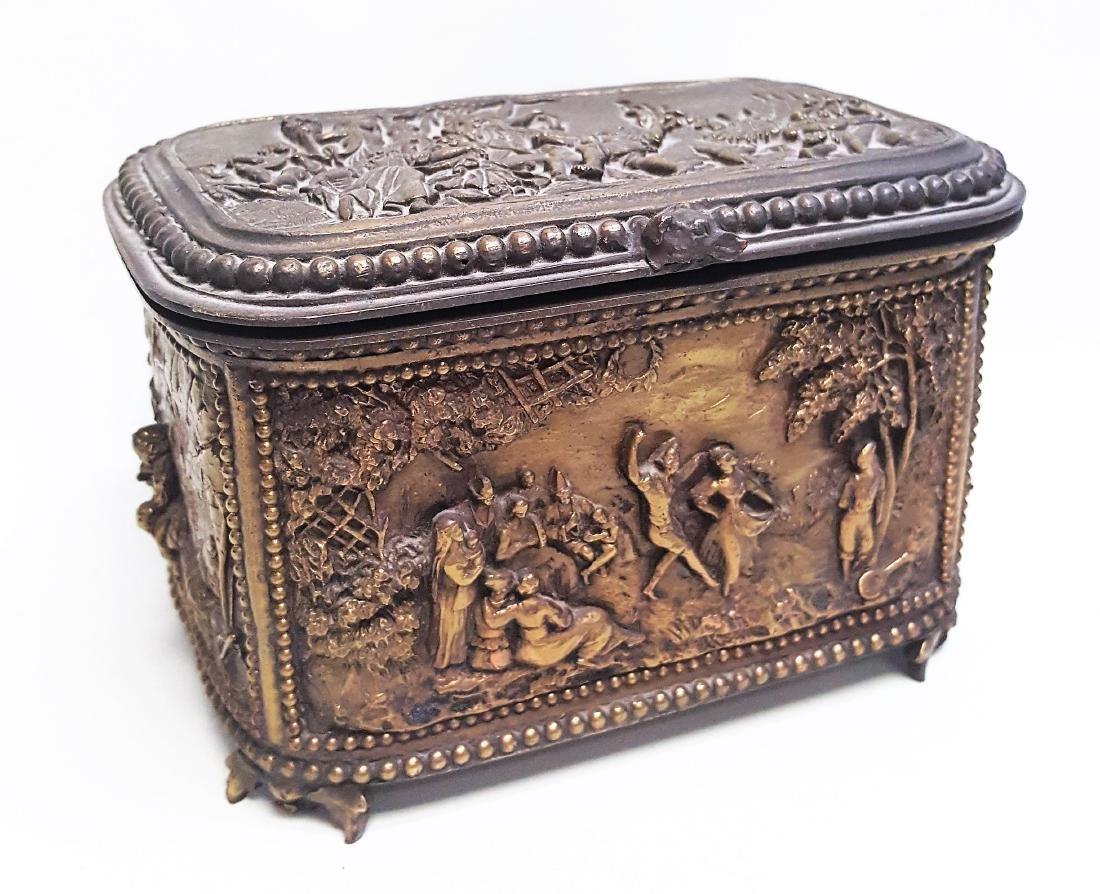 Antique Victorian gilt bronze ormolu trinket or dresser