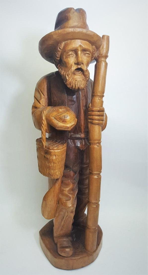 Mid century heavy solid hand carved wooden old man tall