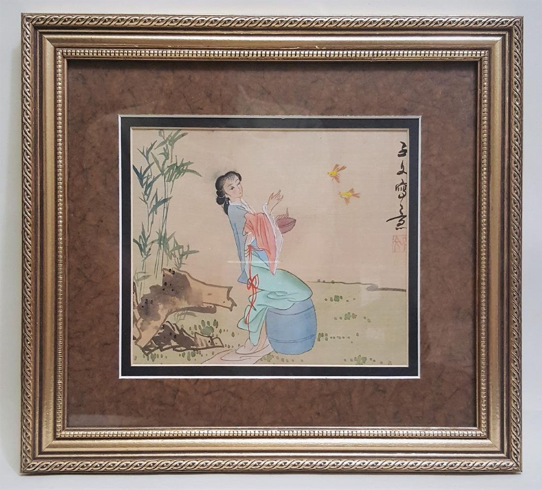 Vintage Japanese water color painting on silk