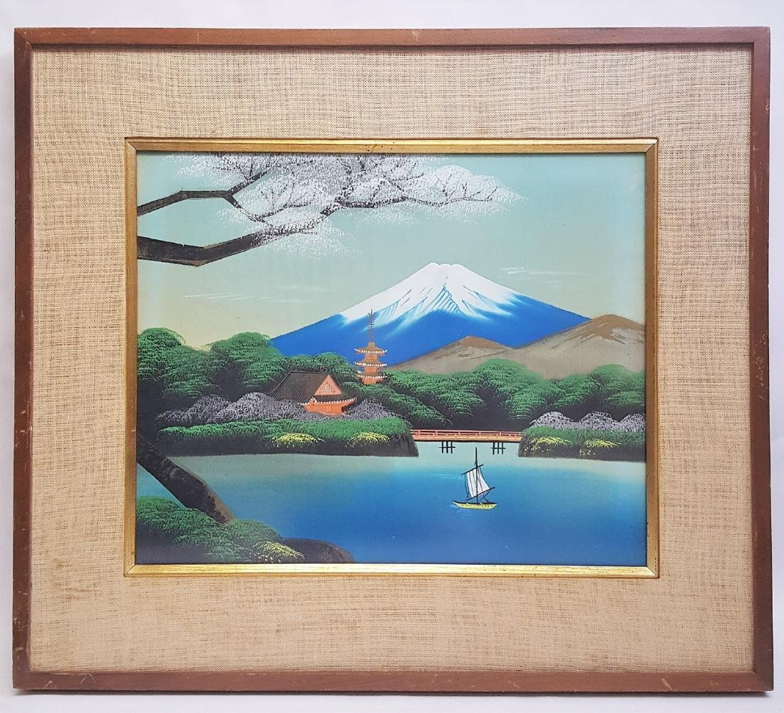 Vintage Japanese Painting of Mount Fuji and lake