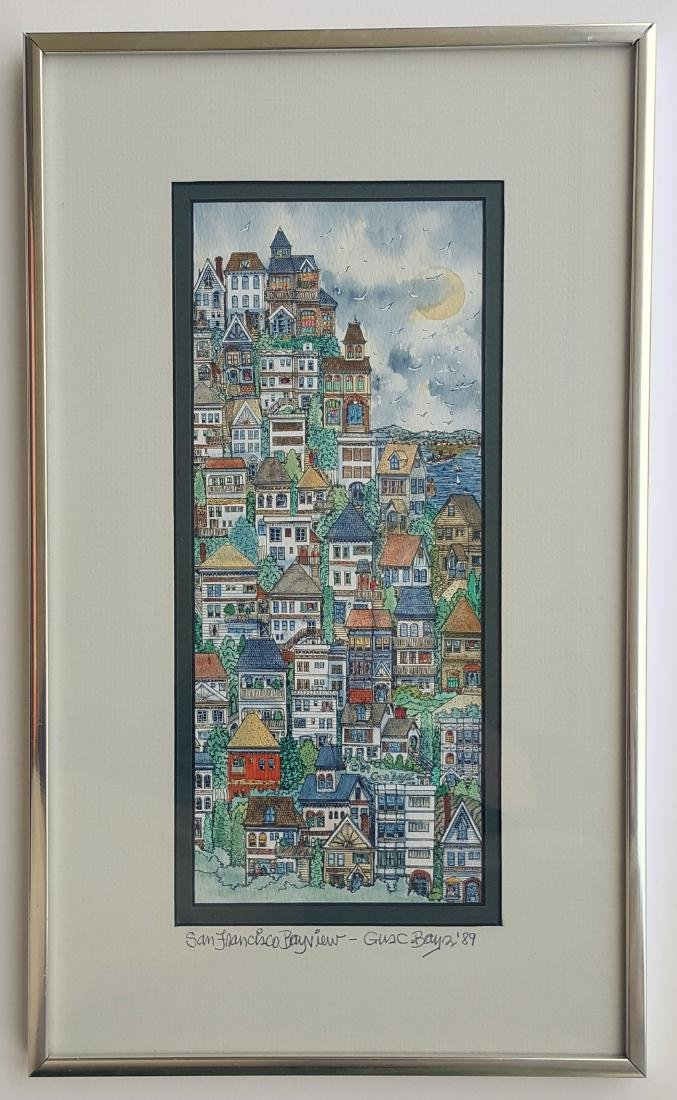 Original watercolor Painting by Gus Bayz SF Bay View