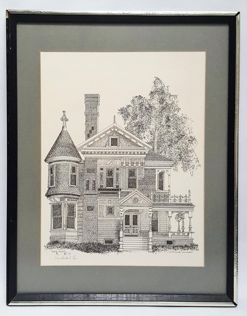 Etching of Hale House Los Angeles by Von Rackel 1975