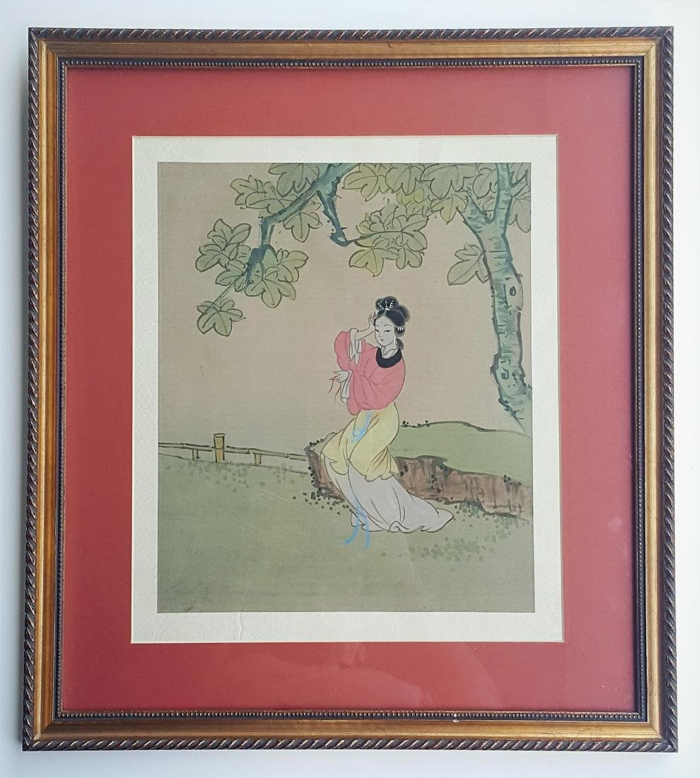 A vintage Chinese watercolor painting on silk