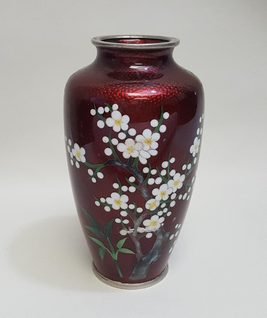 A vintage Japanese cloisonné red glass metal vase