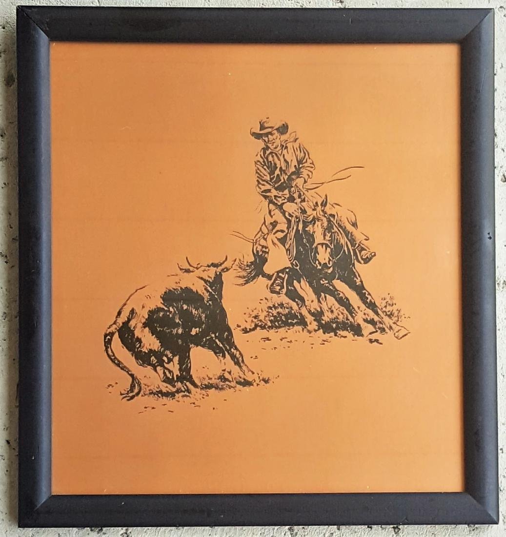 A Western art etching on copper plate cowboy on horse