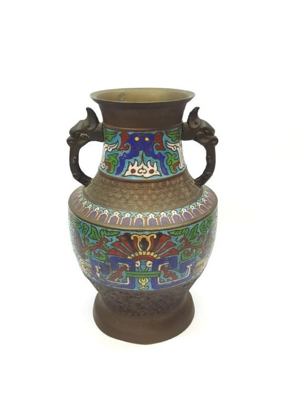 An antique cloisonné Japanese Champlevé over bronze