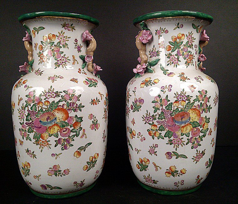 1011: Pair Porcelain Famille Rose Vases with Handles