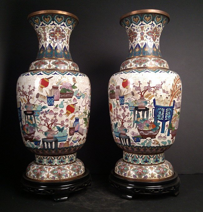 1021: Pair of Old Cloisonne' Vase with Base