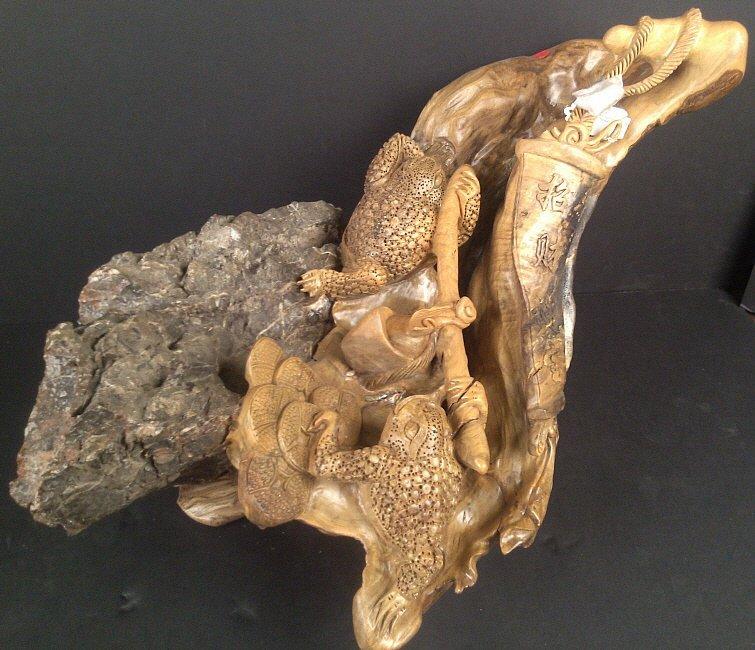 1064: Cedar Wood Carving w/ Stone: Money Frog