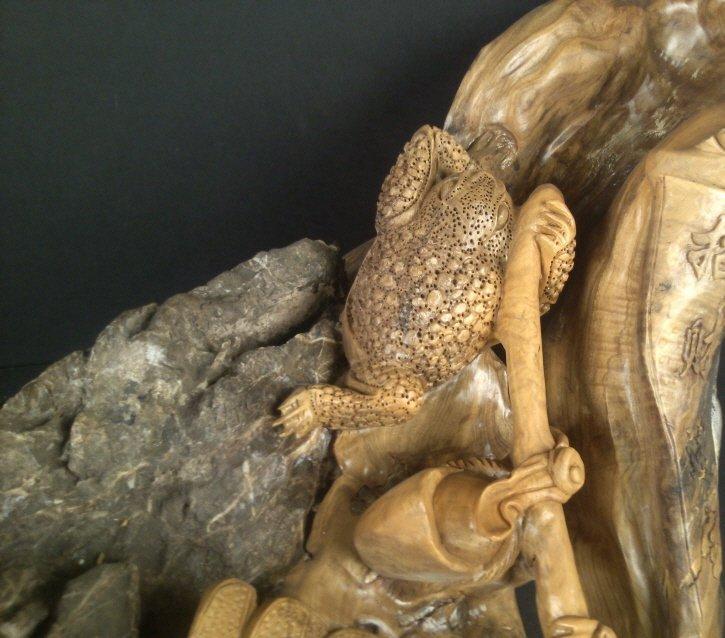 1064: Cedar Wood Carving w/ Stone: Money Frog - 3