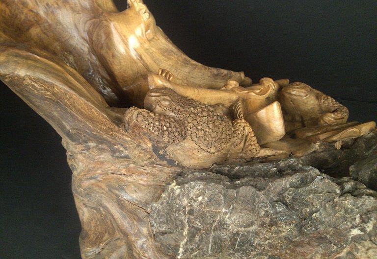 1064: Cedar Wood Carving w/ Stone: Money Frog - 5