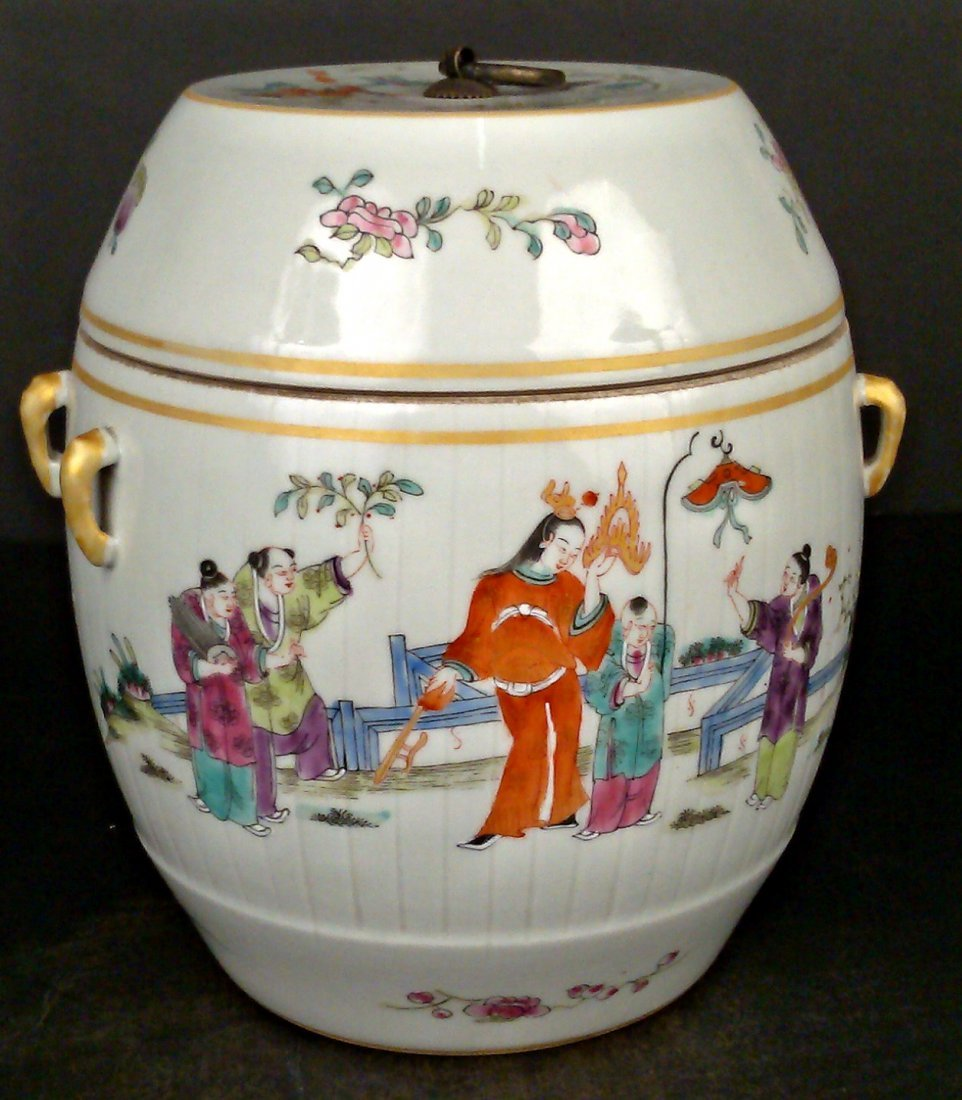 Porcelain Famille Rose Jar w/ Lid