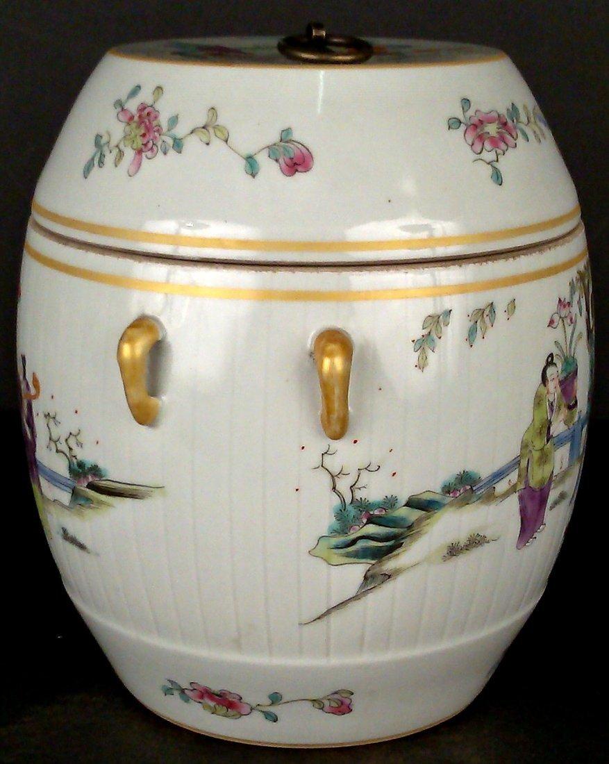 Porcelain Famille Rose Jar w/ Lid - 2
