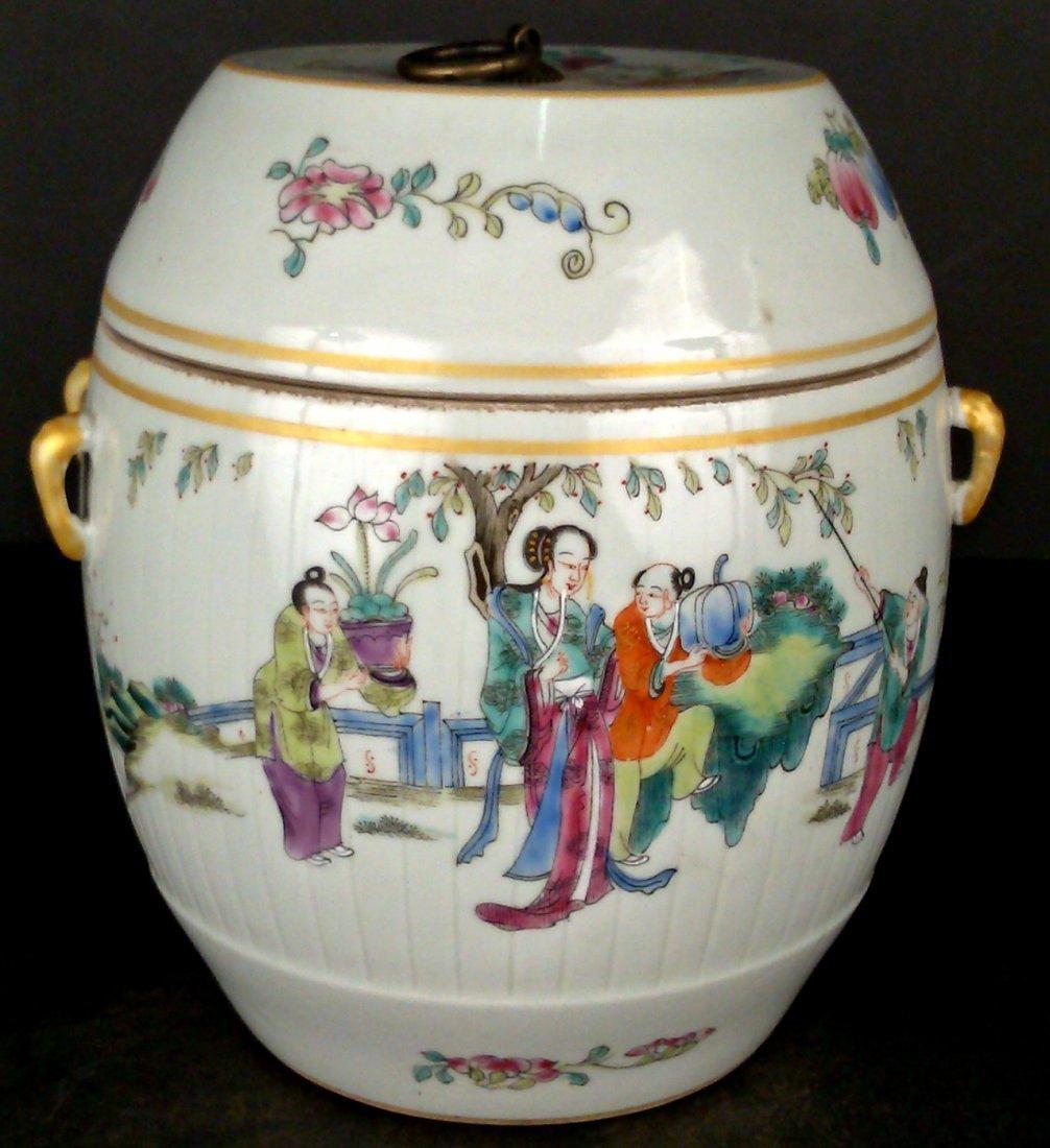 Porcelain Famille Rose Jar w/ Lid - 3