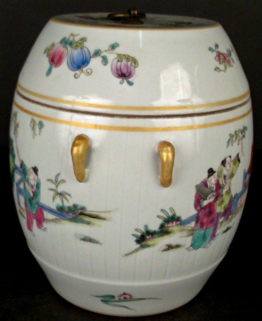 Porcelain Famille Rose Jar w/ Lid - 4