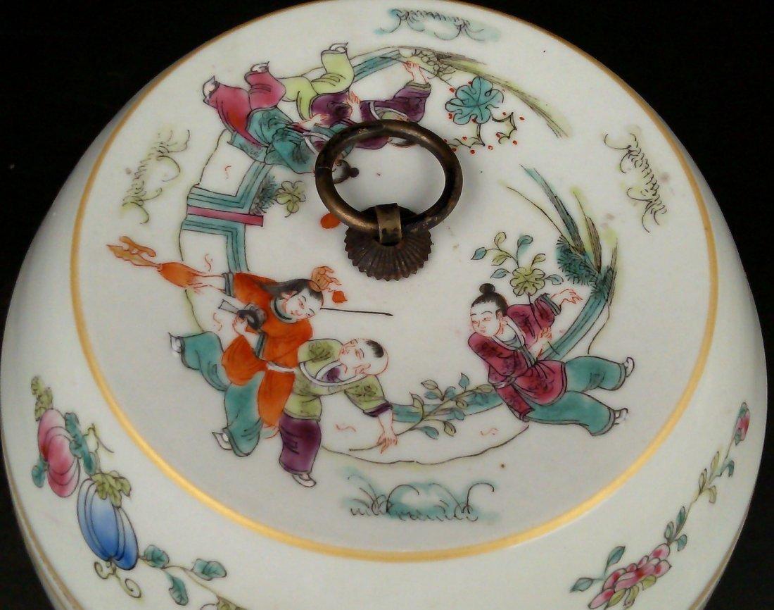 Porcelain Famille Rose Jar w/ Lid - 5
