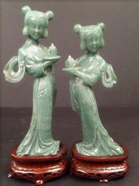 Pair of Green Jade Ladies