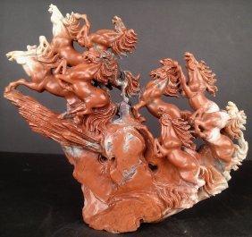 Shoushan Stone 8 Horses