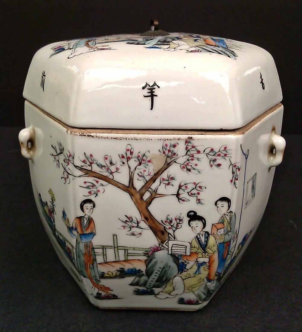 Porcelain Famille Rose Hexagon Jar w/ Lid